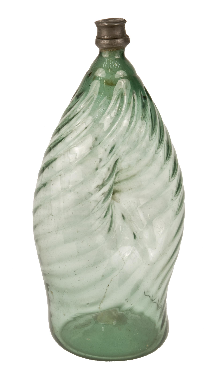Nabelflasche aus grünem Waldglas von Grössl, Franz Xaver