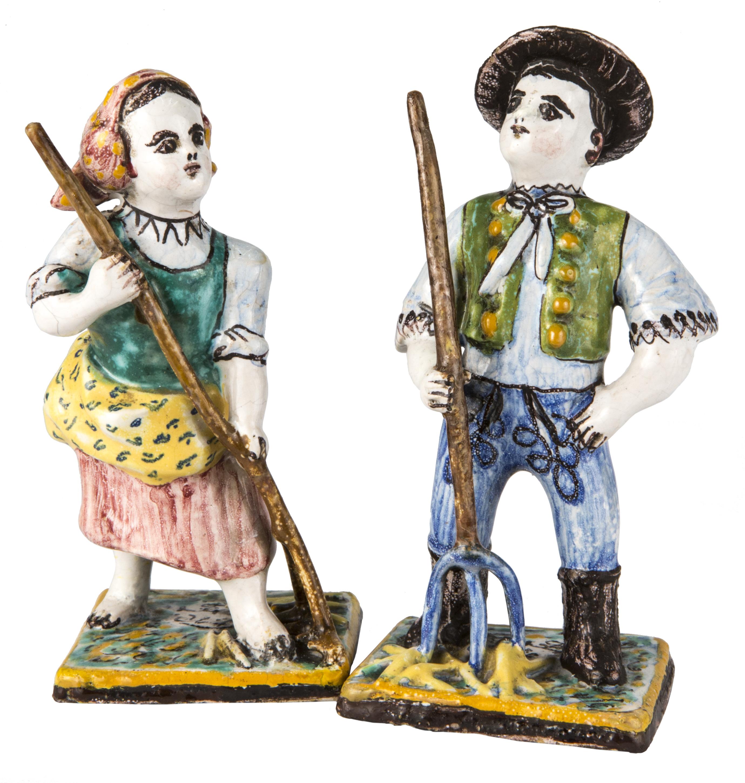 Figürliche Keramikplastik: Bauernbursch und Bauernmädchen von Pick, Ignaz
